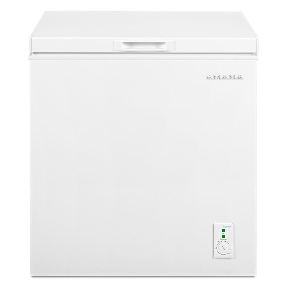 Amana 5.3 cu. ft. Compact Chest Freezer in White with 2-Rollers