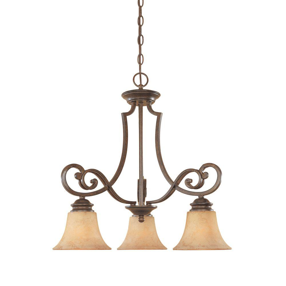 Vienna 3-Light Forged Sienna Hanging Chandelier