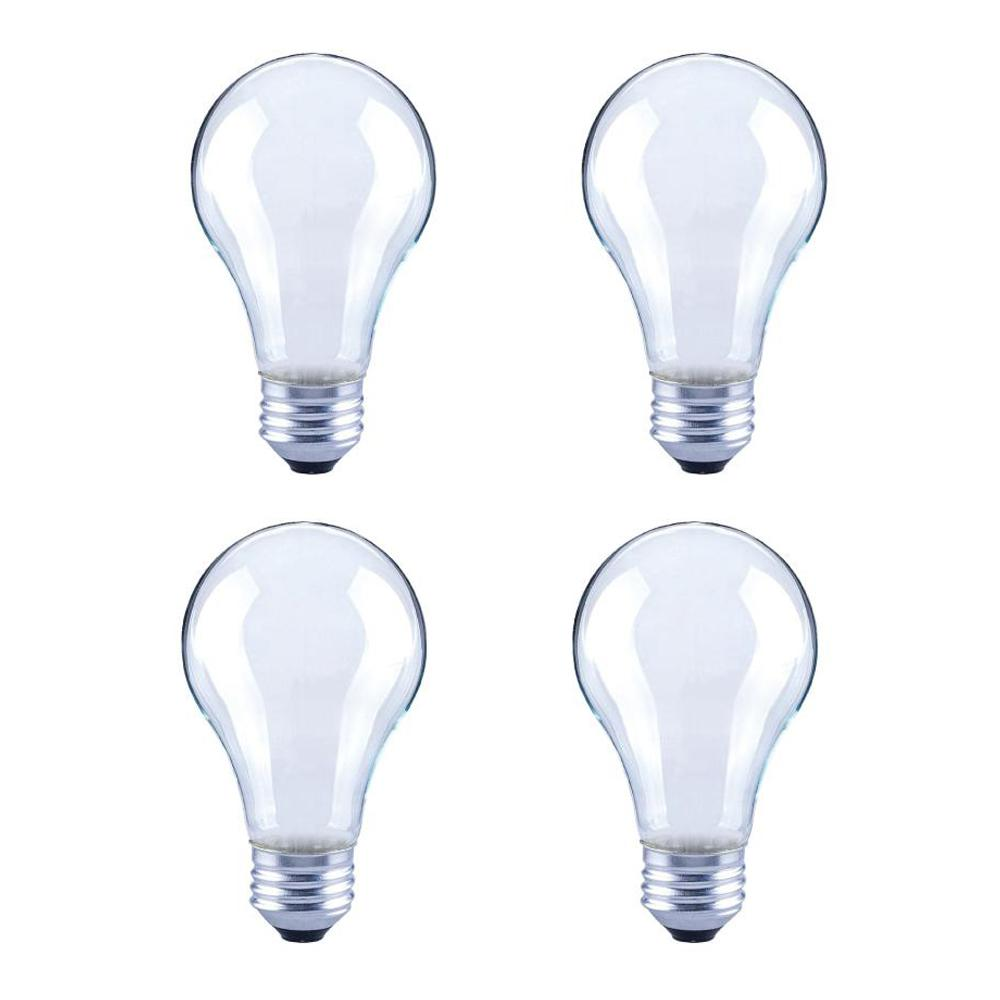 ECOSMART 60-Watt Equivalent A19 Dimmable Energy Star Frosted Filament LED Light Bulb Bright White (4-Pack)