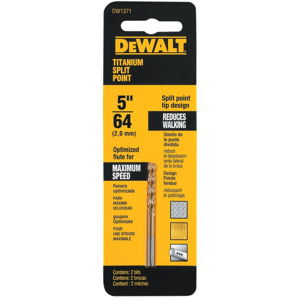 DEWALT 5/64 in. Titanium Split Point Drill Bit (2-Pack)