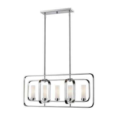 Austin 5-Light Chrome Hanging Pendant with Matte Opal Glass Shade