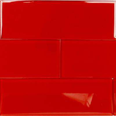 Contempo Red 4 in. x 12 in. x 8mm Polished Glass Floor and Wall Tile (1 sq. ft.)