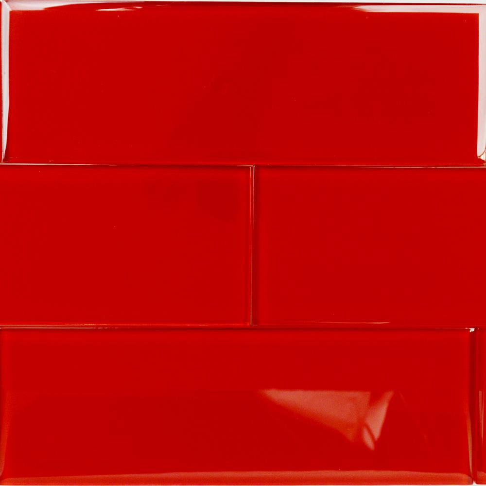 Contempo Red 4 in. x 12 in. x 8mm Polished Glass