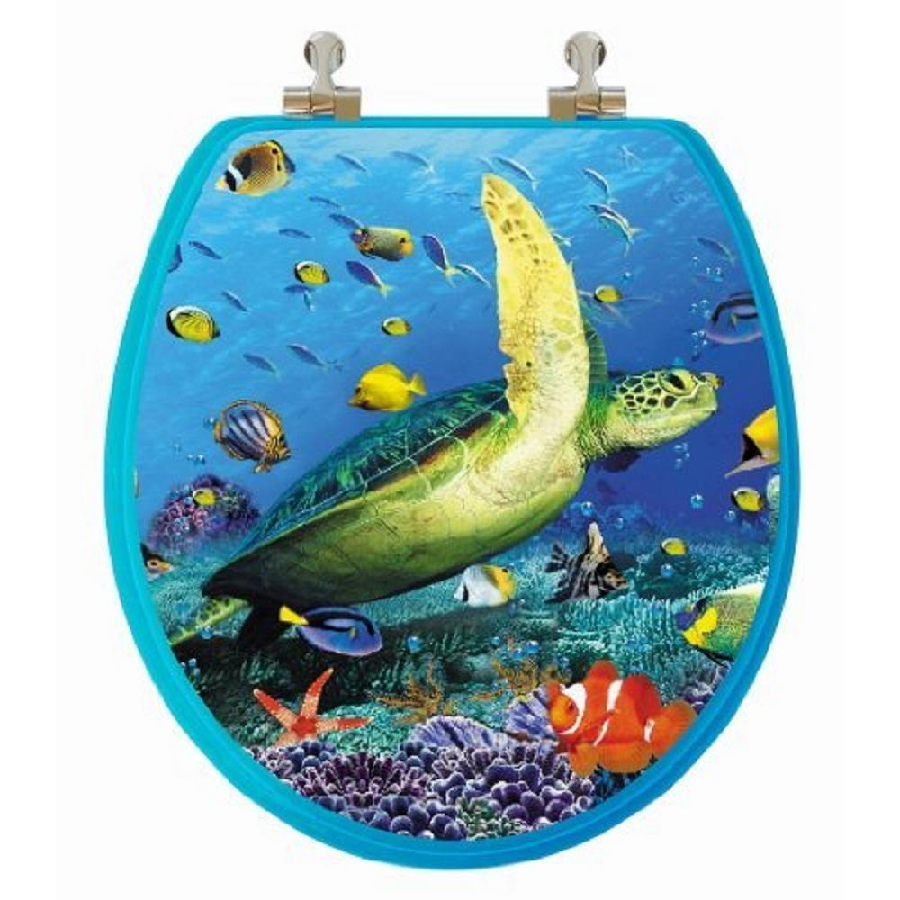 TOPSEAT 3D Ocean Series Sea Turtle Round Closed Front Toilet Seat in Blue