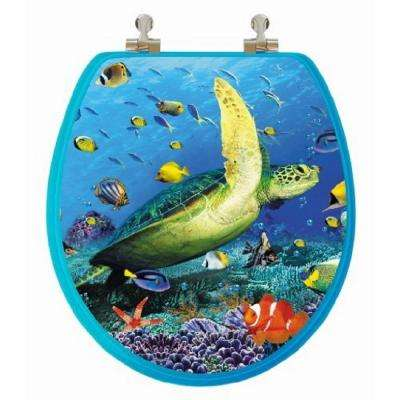 3D Ocean Series Sea Turtle Round Closed Front Toilet Seat in Blue