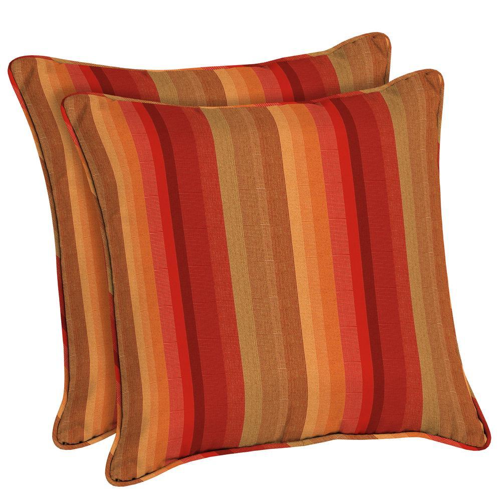 Beau Home Decorators Collection Sunbrella Astoria Sunset Square Outdoor Throw  Pillow (2 Pack)