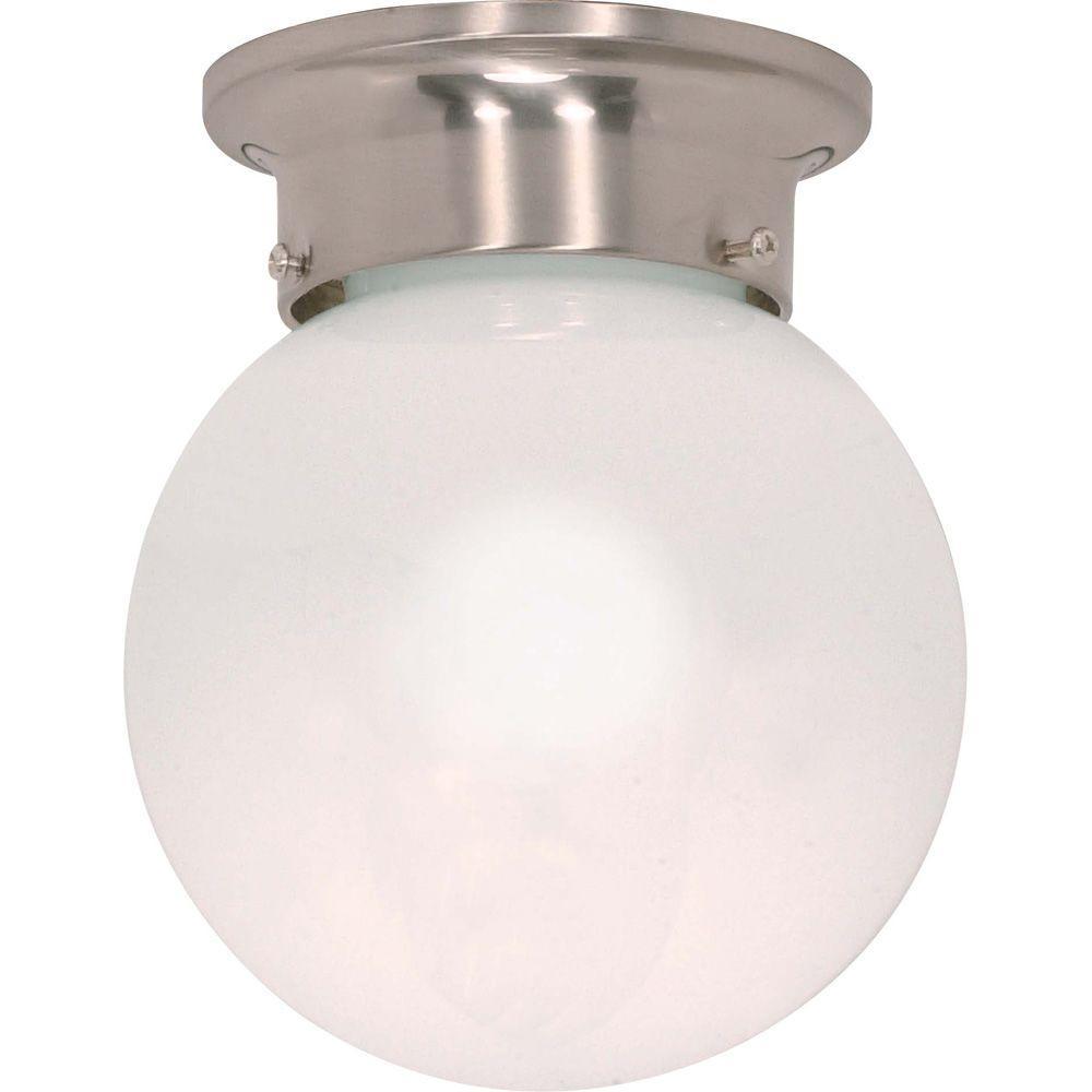 Elektra 1-Light Brushed Nickel Flushmount with White Glass