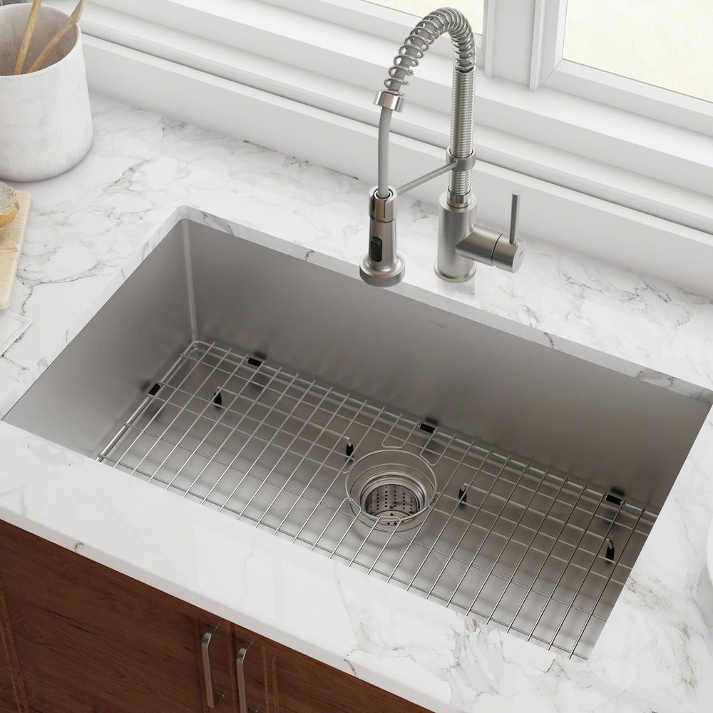 KRAUS KRAUS Standart PRO 32in. 16 Gauge Undermount Single Bowl Stainless Steel Kitchen Sink, Silver