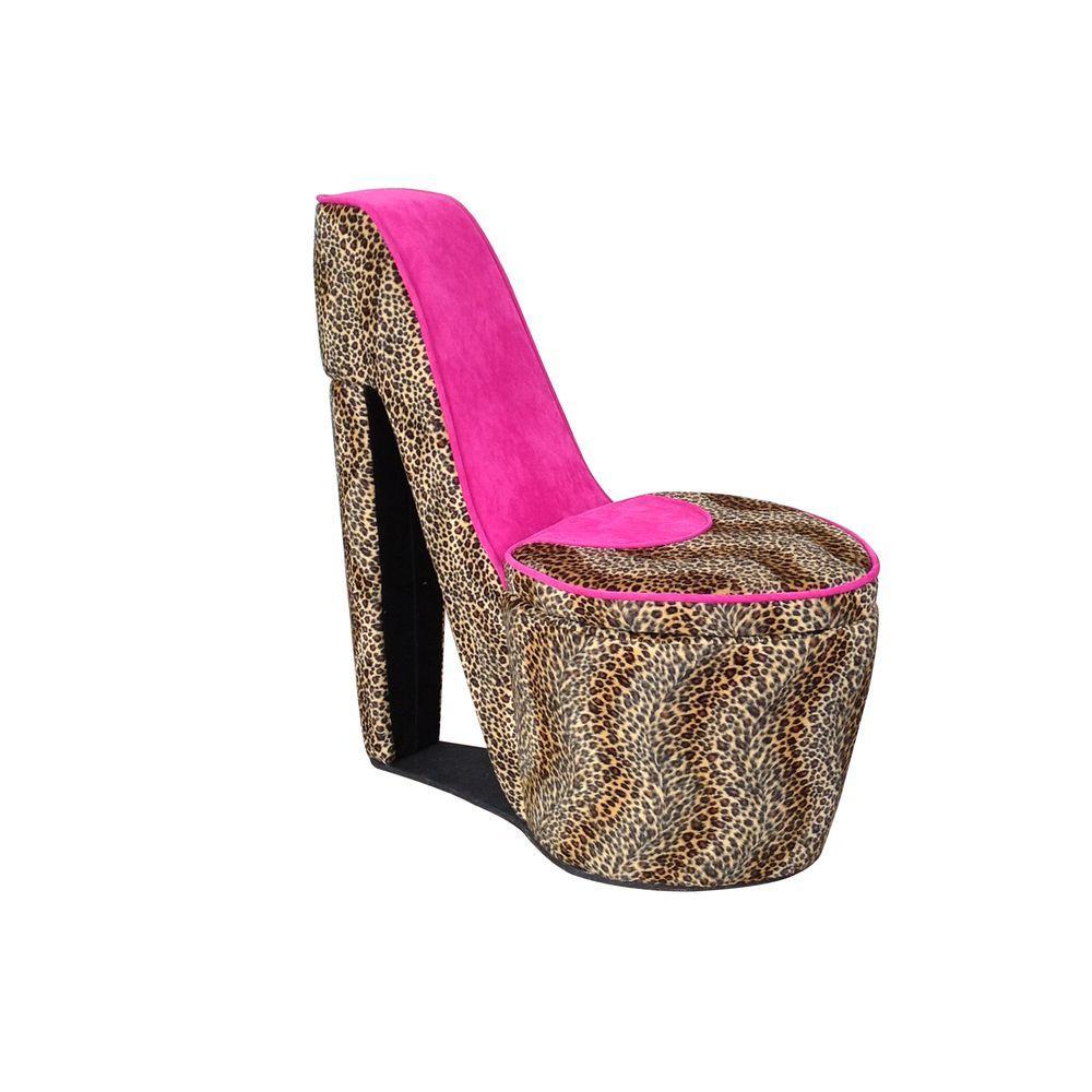 Pink Cheetah Storage Slipper Chair