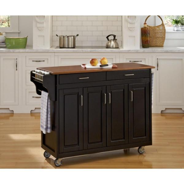 Home Styles Create-a-Cart Black Kitchen Cart With Towel Bar 9200-1046G