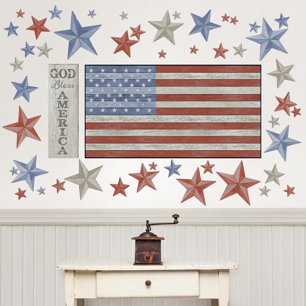 Wall Pops Multi-Colored Land of the Free Wall Decal, Multi-Color Celebrate the land of the free with this Americana wall art kit. With the look of wood and faded colors, this kit has a rustic and country feel. Land Of The Free Wall Art Kit contains 27-pieces on 2-sheets that measure 39 in. x 17.25 in. Color: Multi-Color.