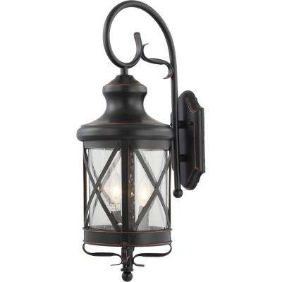 Small 2-Light Black Copper Aluminum Indoor/Outdoor Lamp/Lantern Candle-Style, Wall Mount Sconce with Clear Seedy Glass