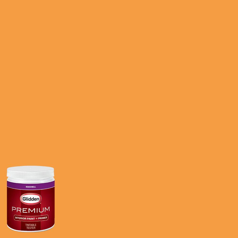 Glidden premium 8 oz nba 078d miami heat yellow eggshell for Eggshell yellow paint