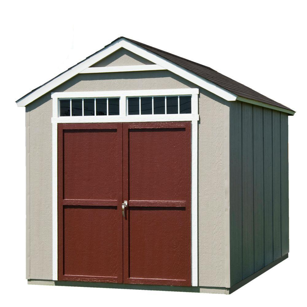 Handy Home Products Handy Home Products Installed Majestic 8 ft. x 12 ft. Wood Storage Shed with Black Onyx Shingles, Multi