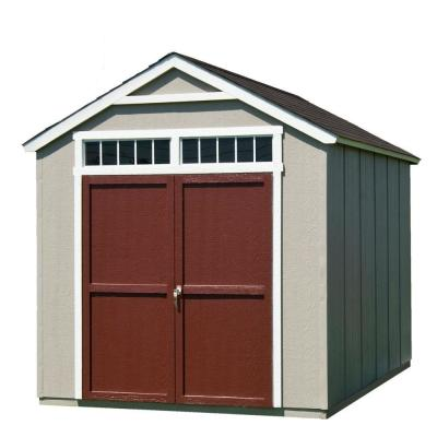 Handy Home Products Installed Majestic 8 ft. x 12 ft. Wood Storage Shed w/ Black Onyx Shingles