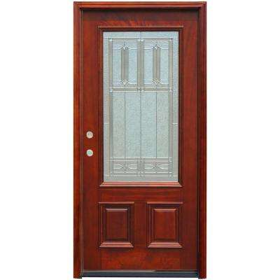 Traditional 3/4 Lite Stained Mahogany Wood Prehung Front Door with 6 in. Wall Series