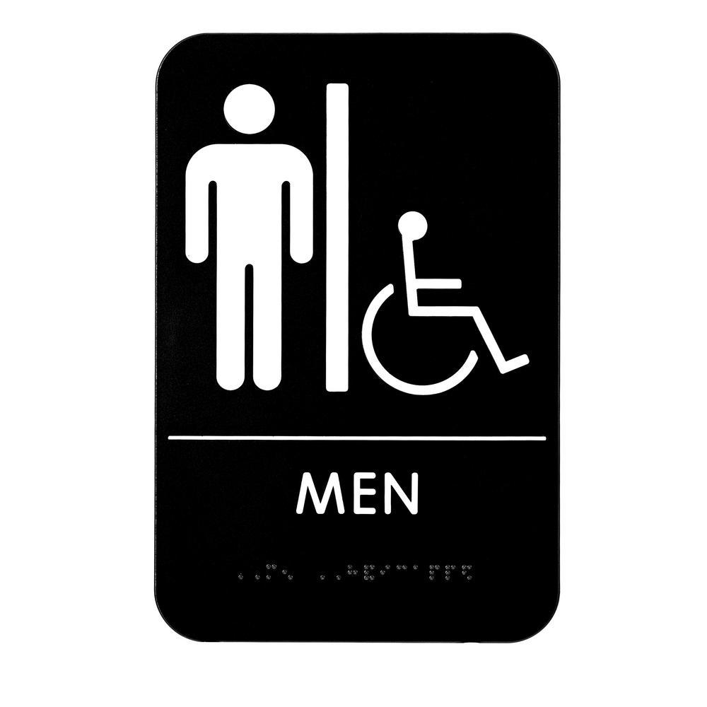 9 in. x 6 in. Men Braille Handicapped Restroom Sign
