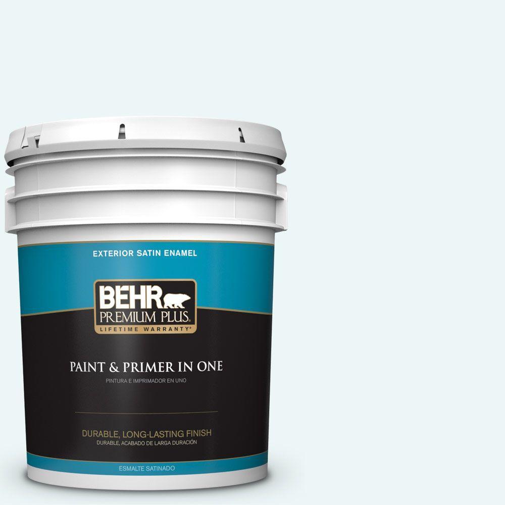 BEHR Premium Plus 5-gal. #PPL-15 Icy Wind Satin Enamel Exterior Paint