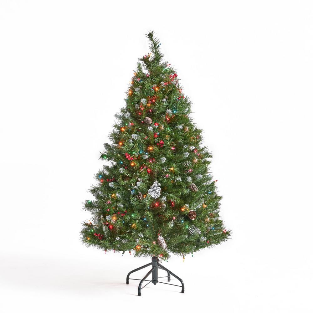 Multi Color Pre Lit Christmas Trees: Noble House 4.5 Ft. Pre-Lit Mixed Spruce Hinged Artificial