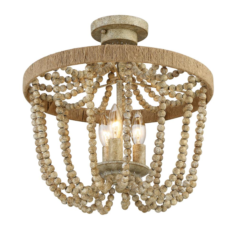 Home Depot Rope Lighting: Filament Design 3-Light Natural Wood With Rope Semi