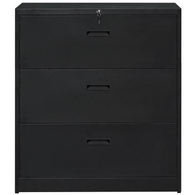 Black Anti-tilt Lateral File Cabinet with 3 Drawers