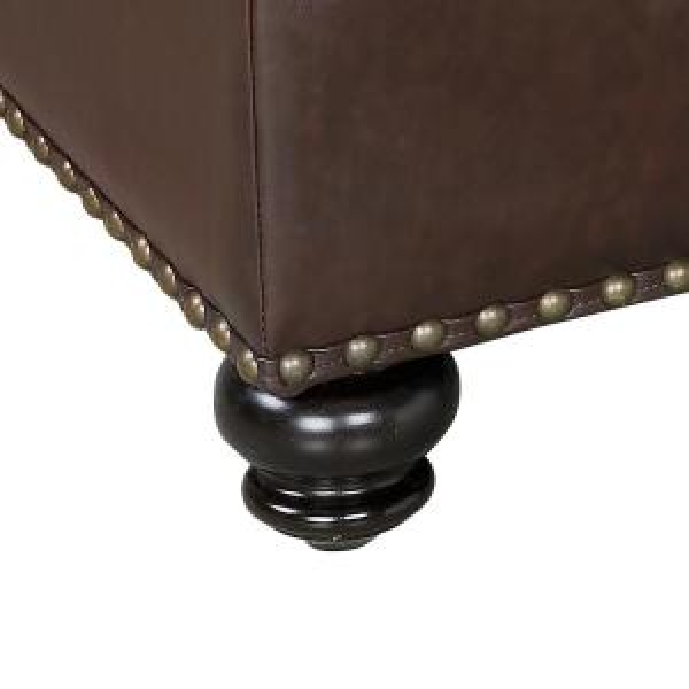 Surprising Dorel Living Hastings Brown Tufted Faux Leather Ottoman Machost Co Dining Chair Design Ideas Machostcouk