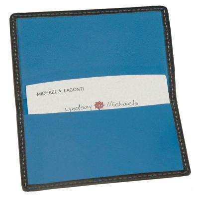 Black and Ocean Blue Business Card Case in Genuine Leather