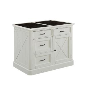 Seaside Lodge Hand Rubbed White Kitchen Island with Granite Top