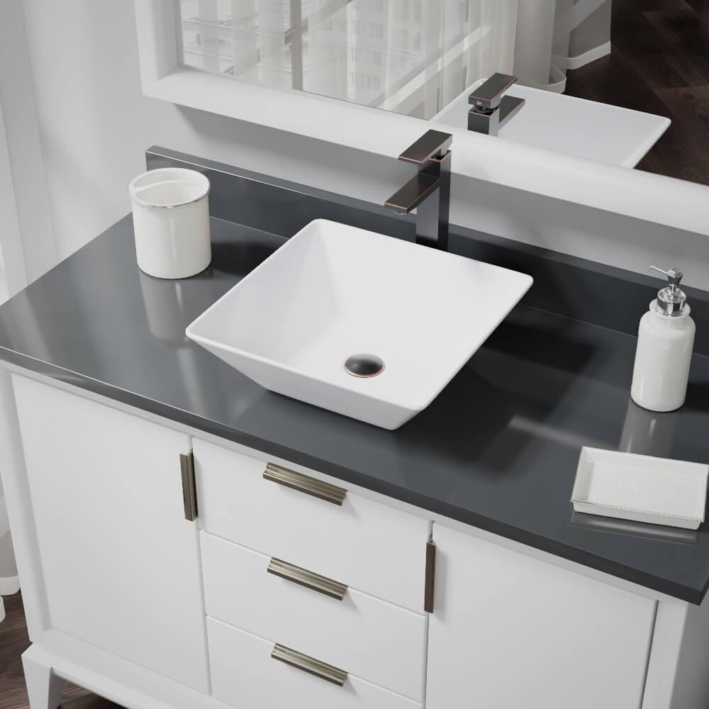 Rene Porcelain Vessel Sink in White with 7003 Faucet and Pop-Up Drain in Antique Bronze