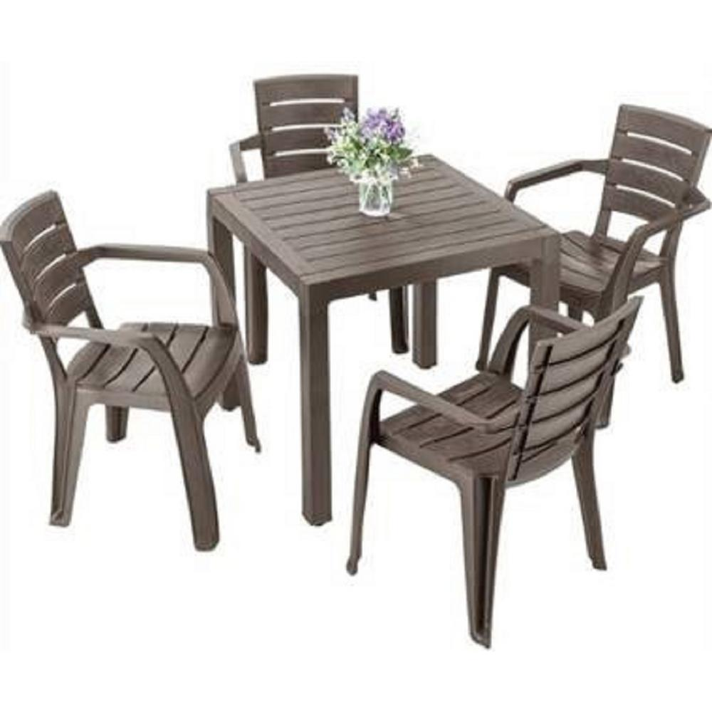 Rimax Mocca 5 Piece Resin Plastic Outdoor Dining Set
