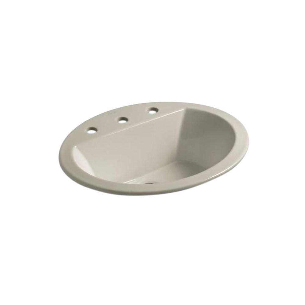 Bryant Oval Drop-In Vitreous China Bathroom Sink in Sandbar with Overflow