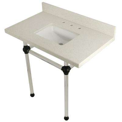 Square Sink Washstand 36 in. Console Table in White Quartz with Acrylic Legs in Matte Black