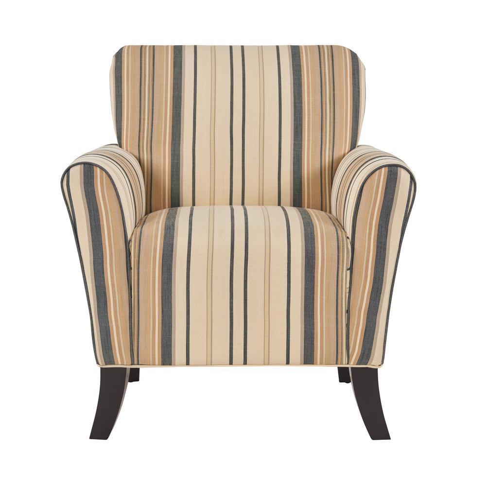 Superieur Handy Living Sasha Flared Brown And Black Stripe Arm Chair