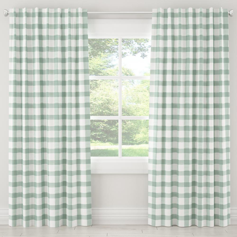 50 in. W x 96 in. L Unlined Curtain in Buffalo Square Mint