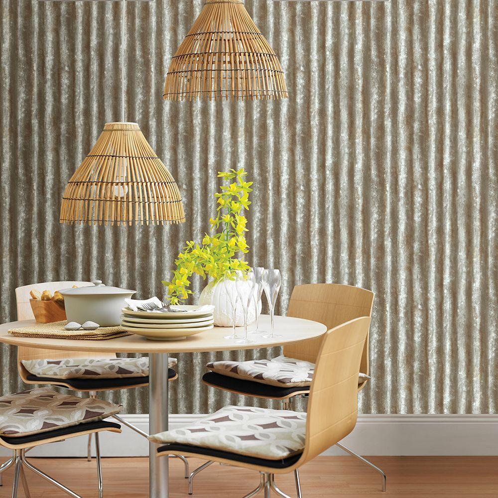 Grey Corrugated Metal Industrial Texture Wallpaper