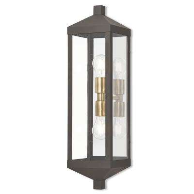 Nyack Collection 2-Light Bronze Outdoor Wall Mount Lantern