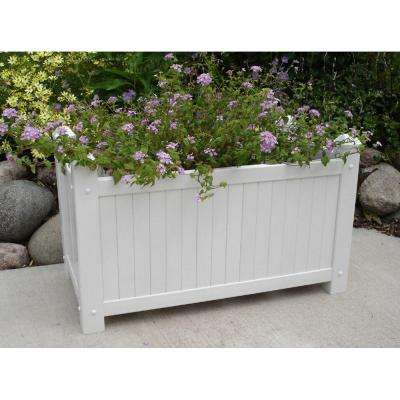 28 in. x 14-1/2 in. White Vinyl Slat Planter