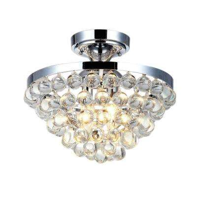 13 in. 4-Light Chrome Semi-Flushmount with Clear Crystal Balls Shade
