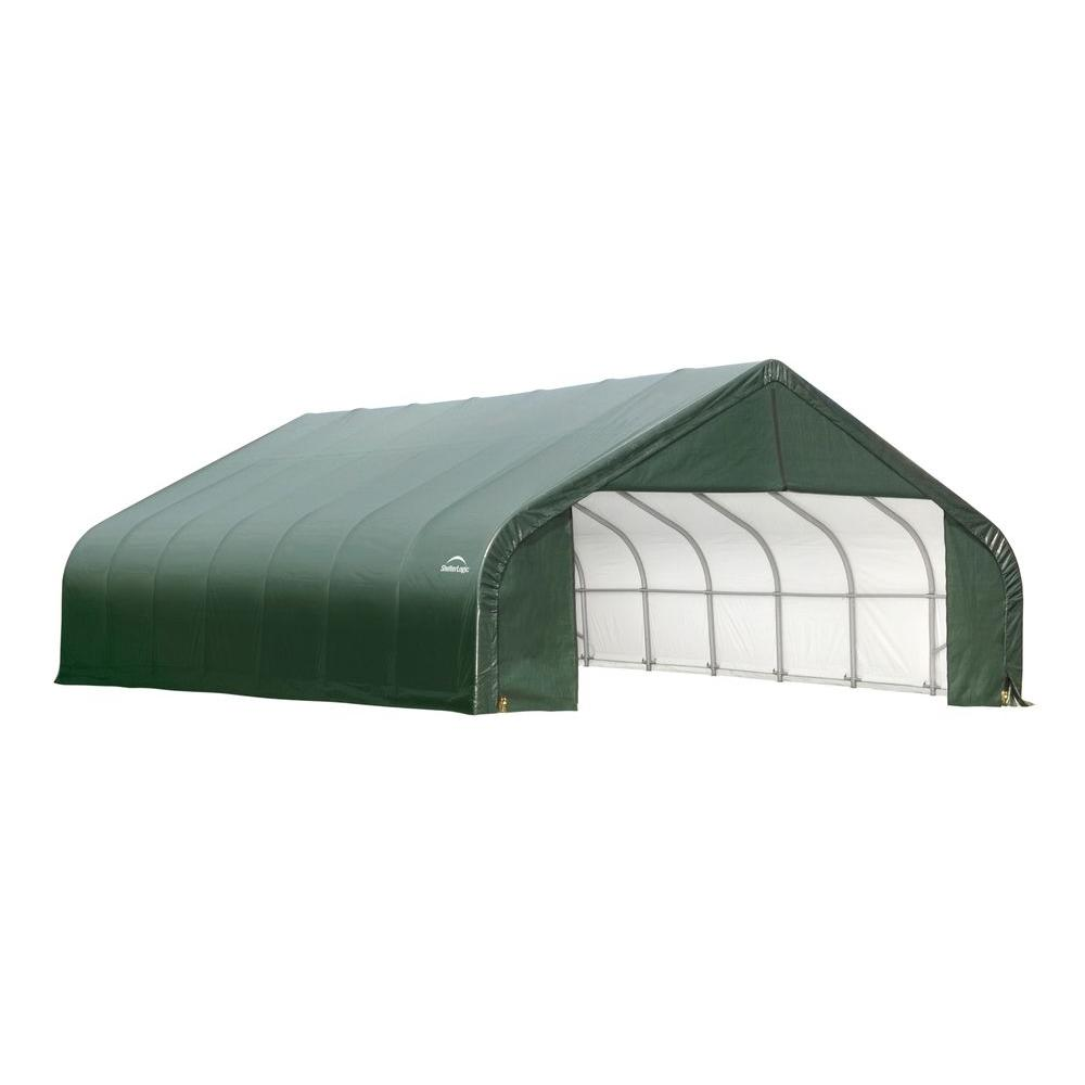 ShelterLogic 26 ft. x 40 ft. x 12 ft. Green Cover Peak Style Shelter - DISCONTINUED
