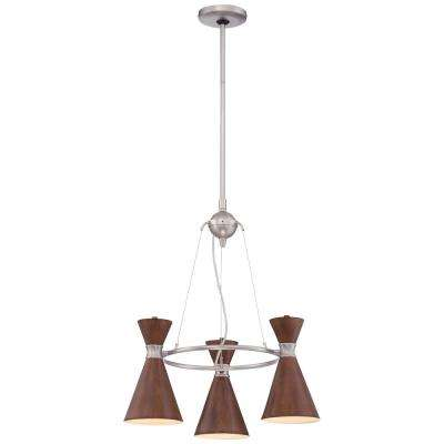 Conic 3-Light Brushed Nickel Mini Chandelier with Distressed Koa Metal Shade