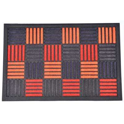 Evideco 16 in. x 24 in. Orange Sheltered Front Door Mat Carol Nylon Rubber Checkered