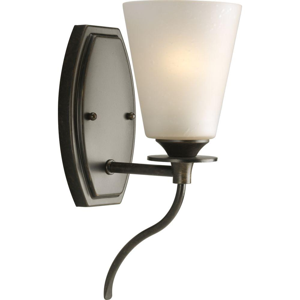 Progress Lighting Cantata Collection 1-Light Forged Bronze Wall Sconce with Seeded Topaz Glass