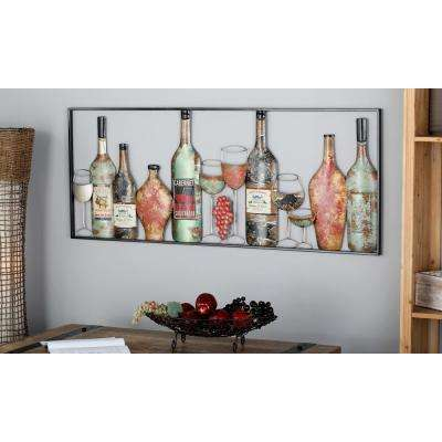 Iron Multi-Colored Framed Wine Country Metal Work