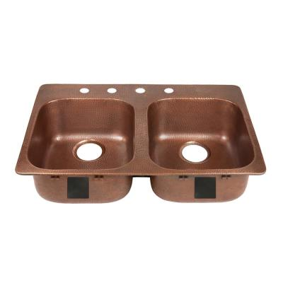 Santi Drop-In Handmade Pure Solid Copper 33 in. 4-Hole Left Side 50/50 Double Bowl Kitchen Sink in Antique Copper