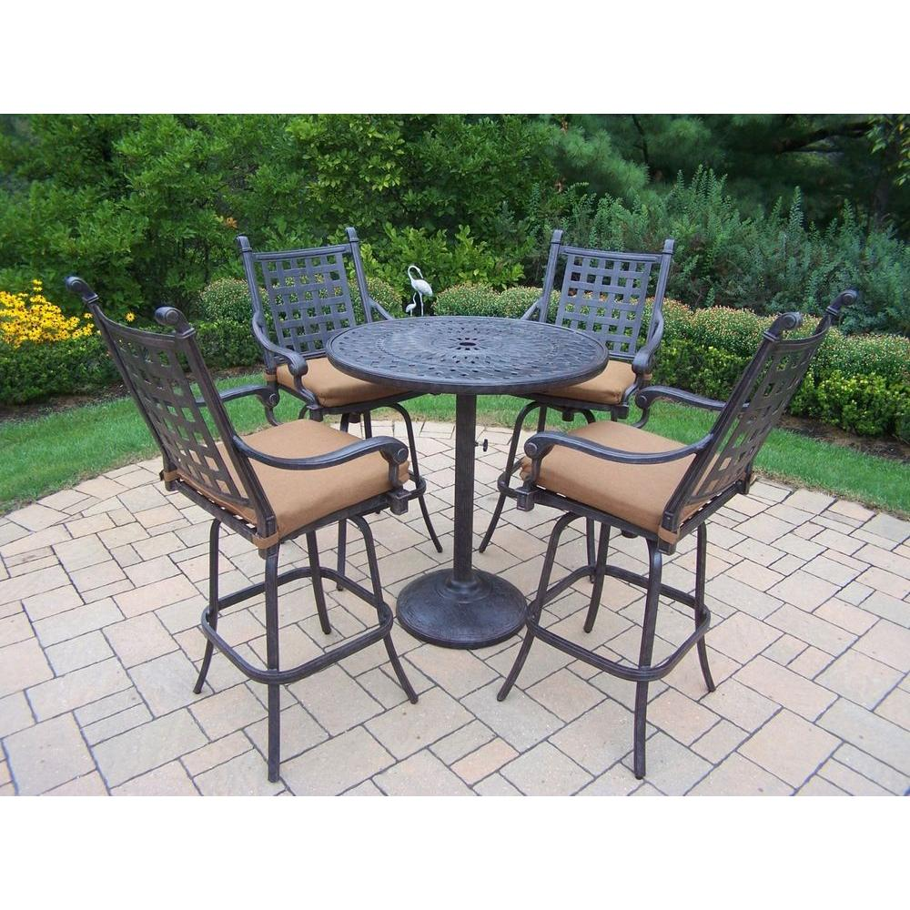 Belmont Cast Aluminum Piece Round Patio Bar Height Dining Set With - Teak bar height table and chairs