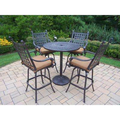 Belmont Cast Aluminum 5-Piece Round Patio Bar Height Dining Set with Sunbrella Canvas Teak Cushions