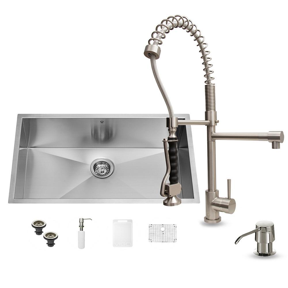 Kitchen Sink Set: VIGO All-in-One Undermount Stainless Steel 32 In. Single