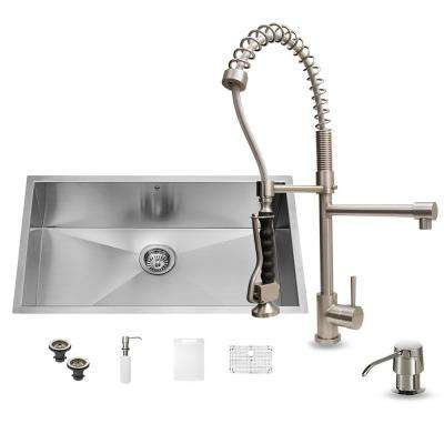 All-in-One Undermount Stainless Steel 32 in. Single Basin Kitchen Sink Set in Stainless Steel