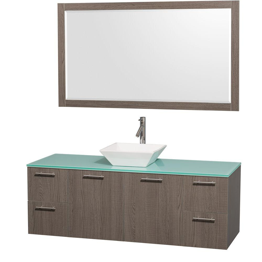 Wyndham Collection Amare 60 in. Vanity in Grey Oak with Glass Vanity Top in Aqua and White Porcelain Sink
