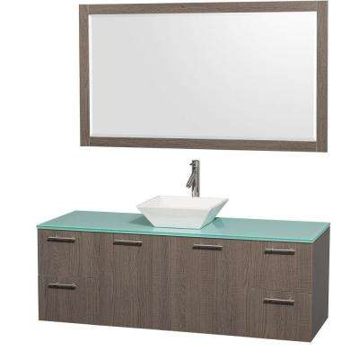 Amare 60 in. Vanity in Grey Oak with Glass Vanity Top in Aqua and White Porcelain Sink